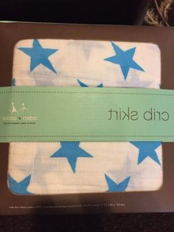 Aden + Anais Crib Skirt Muslin Fluro Blue Stars New Nursery