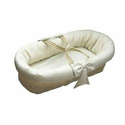Baby Doll Bedding Pique Moses Basket, White