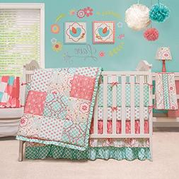 The Peanut Shell Baby Girl Crib Bedding Set - Coral and Aqua