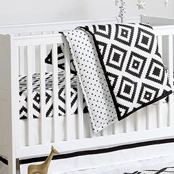 Black and White Tile Print 3 Piece Baby Crib Bedding Set by
