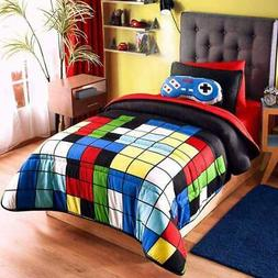 """Boys bedding set """"Videogame"""" reversible and colorful, Twin a"""