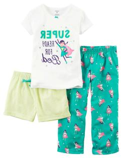 Carter's Toddler Girls 3-Piece PJs - Super Ready for Bed NWT