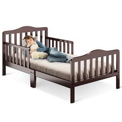 Classic Kids Wood Bed with Guardrails-Brown