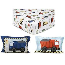 Kidplokio Construction Toddler Fitted Sheet Set with Pillow
