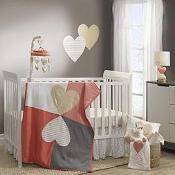 Lambs & Ivy Dawn Coral/Gold Heart 3 Piece Crib Bedding Set