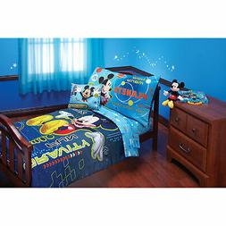 Disney Mickey Mouse 4 Piece Toddler Bed Set Quilt Sheets Pil