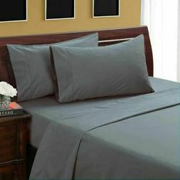 Gray Solid & Stripe Attached Water Bed Sheet Set All Sizes &