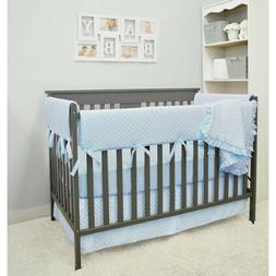 Heavenly Soft 6 Piece Crib Rail Bedding Set, Blue, Boy Girl,