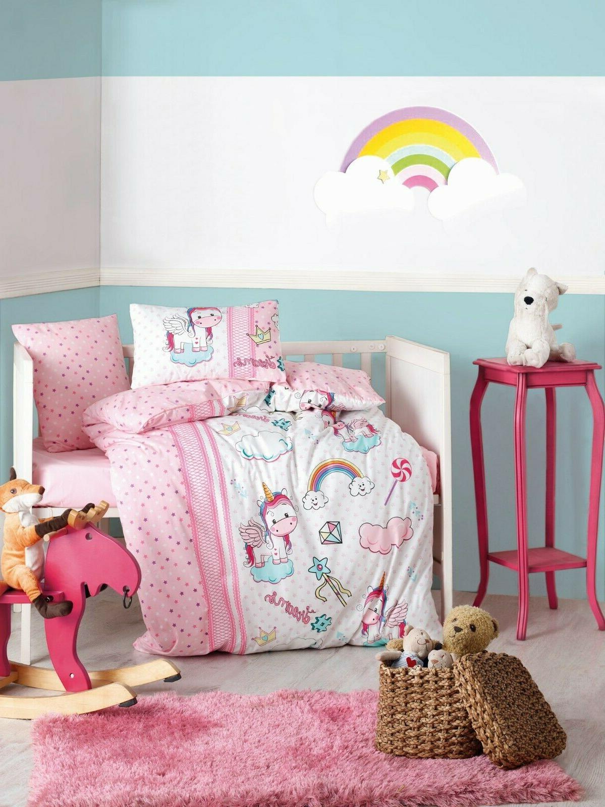 100% Cotton Unicorn Nursery Baby Bedding Set Duvet Cover Tod