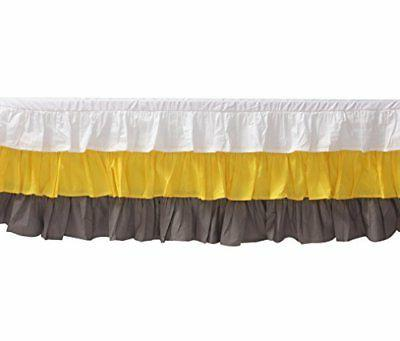 Bacati 3 Layer Ruffled Crib/Toddler Bed Skirt, White/Yellow/