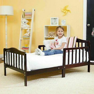 Baby Toddler Bed Kids Children Wood Bedroom Furniture w/ Saf