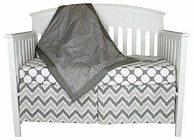 Grey Dots and Chevron 4-in-1 100% Cotton Baby Crib Bedding S