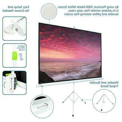 """HD 100"""" 4:3 Projection Projector Screen Pull Up with Tripod"""