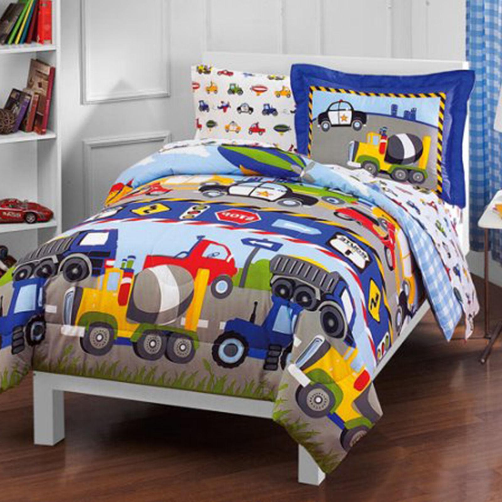Toddler Bedding Set Reversible Comforter With Sheets Boy Gir