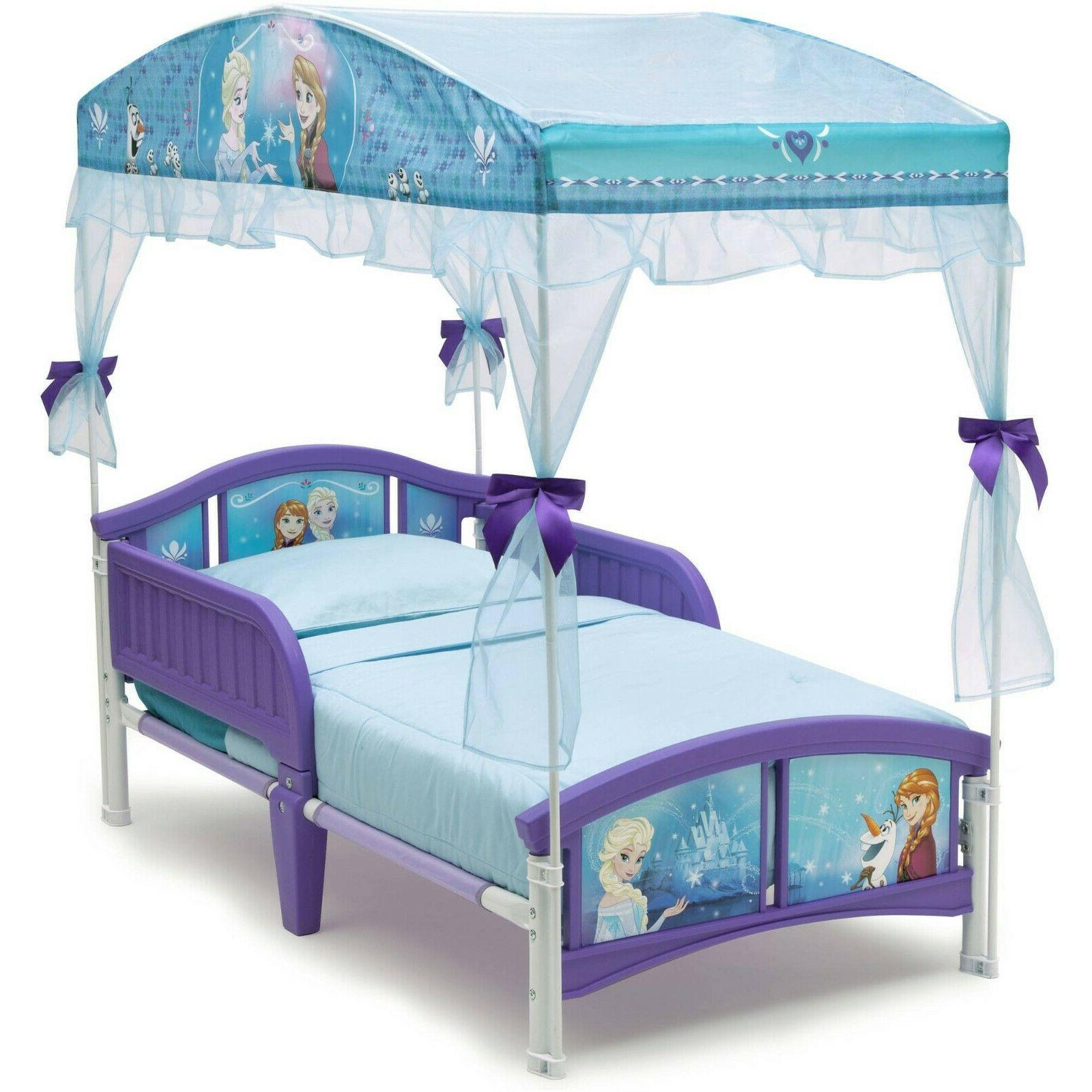 Toddler Frozen Canopy Bed Disny Princess Little For Kids Purple