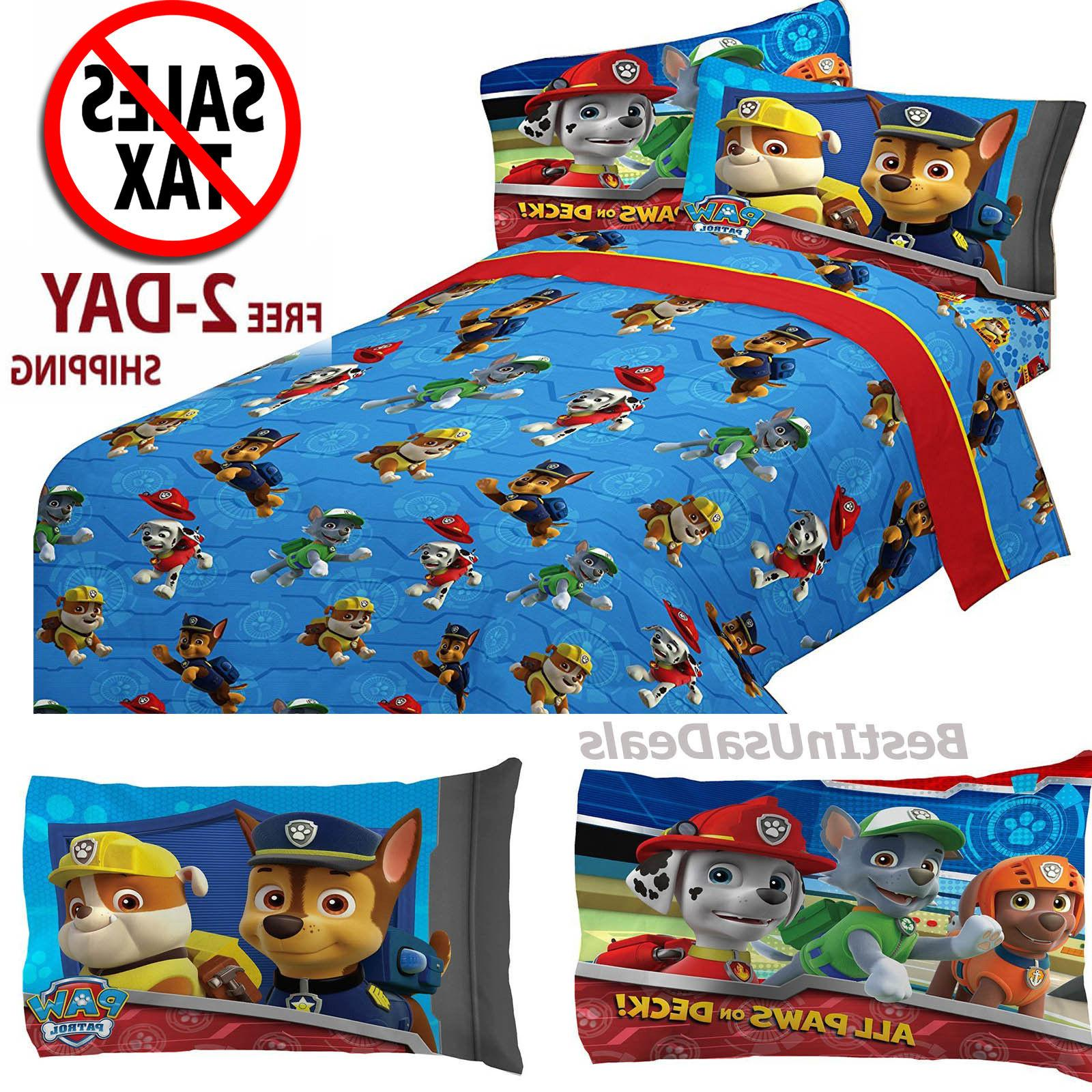 Toddler Twin Size Bed Sheets Boys Paw Patrol Rescue with Pil