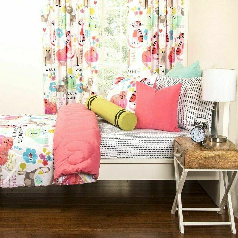 Twin Girls Bedding Kitty Cats Toddlers 2pc
