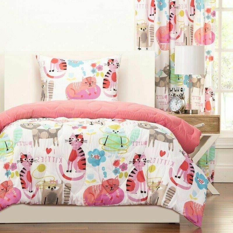 Twin Comforter Sets For Girls Pink Bedding Kitty Cats Kids T