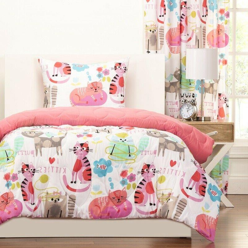 Twin Comforter Sets For Girls Pink Kitty Cats Bedding Kids T