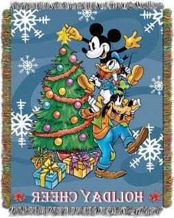 """Disney's Mickey Mouse, """"Spread Cheer"""" Woven Tapestry Throw B"""