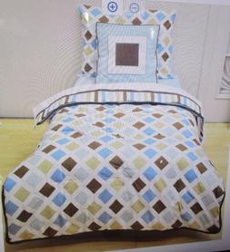 Bacati Mod Diamonds Aqua/chocolate 4-Piece Reversible Toddle