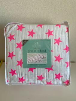 NEW Aden + Anais Fluro Pink Stars Toddler Bed in a Bag Set M
