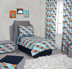 New Bacati Liam Aztec 4 Piece Toddler Bedding Set Aqua/Orang