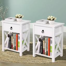 Pair Of Wood White Sofa End Side Bedside Table Nightstand W/