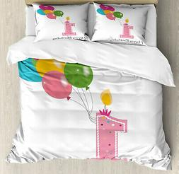 Party Duvet Cover Set with Pillow Shams Baby Girl Toddler Pr