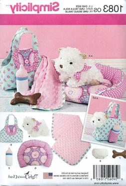 "Simplicity Pattern S0351 / 1083 8"" Stuffed Puppy, Carrier,"