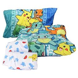 "Pokemon ""First Starters"" 4 Piece Twin Bed in a Bag Bedding S"