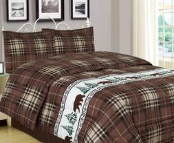 Twin, Full/Queen, or King Plaid Bear Comforter Set Rustic Ca