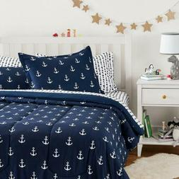 Twin Full Queen Bed Bag Navy White Anchors Nautical 7 pc Com