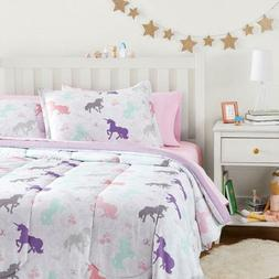 Twin Full Queen Bed Bag Purple Pink Unicorns Paisley 7 pc Co