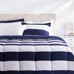 Twin XL Full Queen King Navy Blue White Rugby Striped 3 pc C