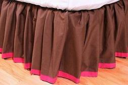 Valley of Flowers Brown with Fuschia Band Full Bed skirt