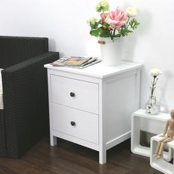 2 Drawer Wood Nightstand End Table Bedside Organizer Home Fu